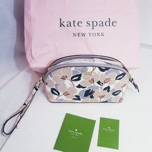 Kate Spade Dome Cosmetic MakeUp Leather Clutch bag